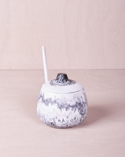 Sugar Bowl and Medium Teaspoon - Smoke Marble by KEEPRESIN