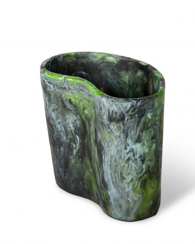 Kidney Vase - Moss Marble by KEEPRESIN