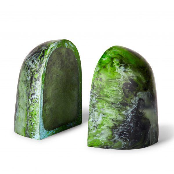 Bridge Book Ends - Moss Marble by KEEPRESIN